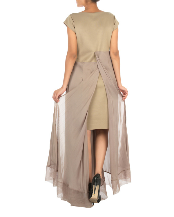 Three panelled beige gown 1