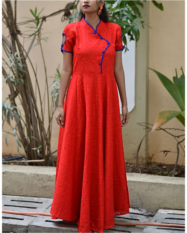 Red fit and flare dress with dupatta 2