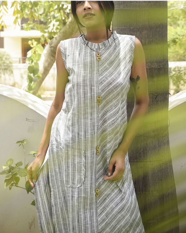 Grey striped kurta 3