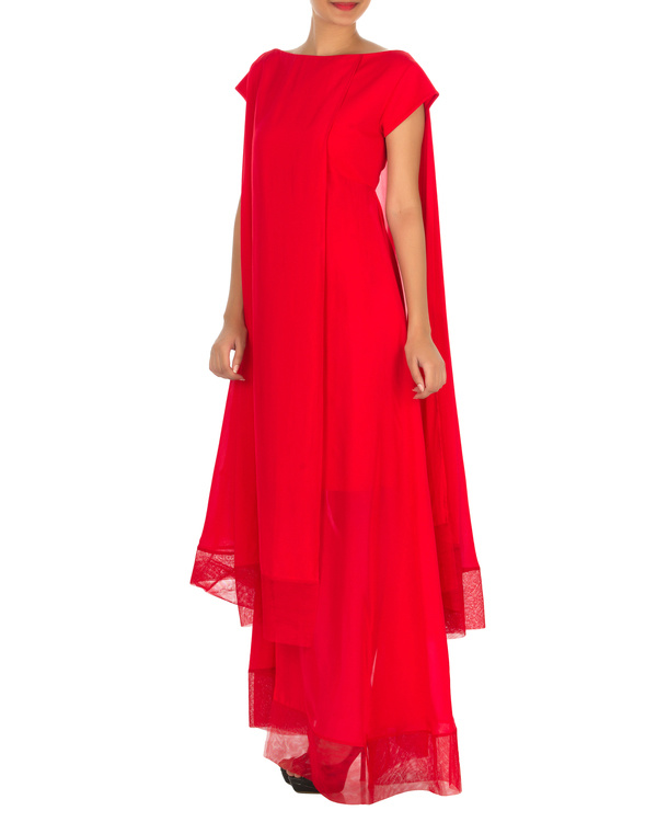 Four panelled red gown 2
