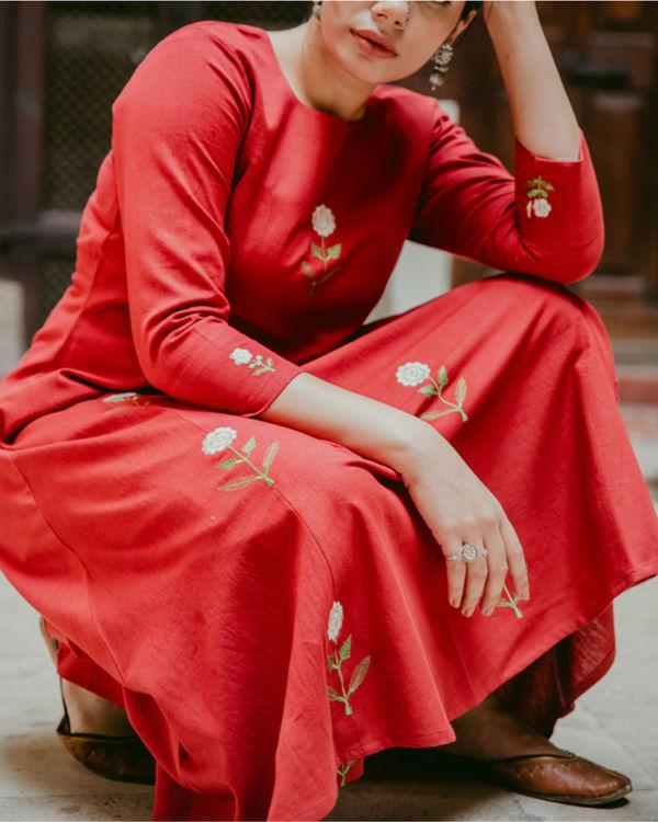 Blooming Red Kurta Set 1