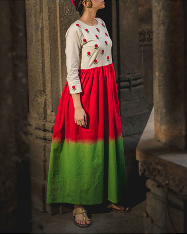 Emerald Crimson Mogra Dress 2
