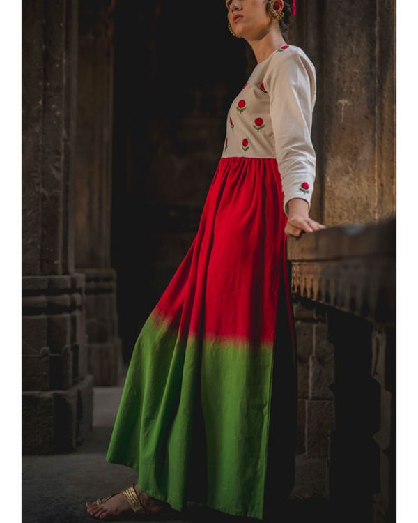 Emerald Crimson Mogra Dress 1
