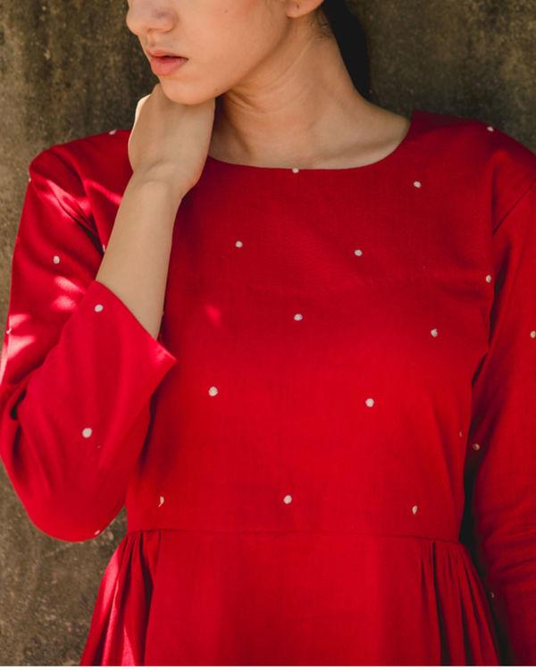 Red Dandelion Side Gathered Dress 2