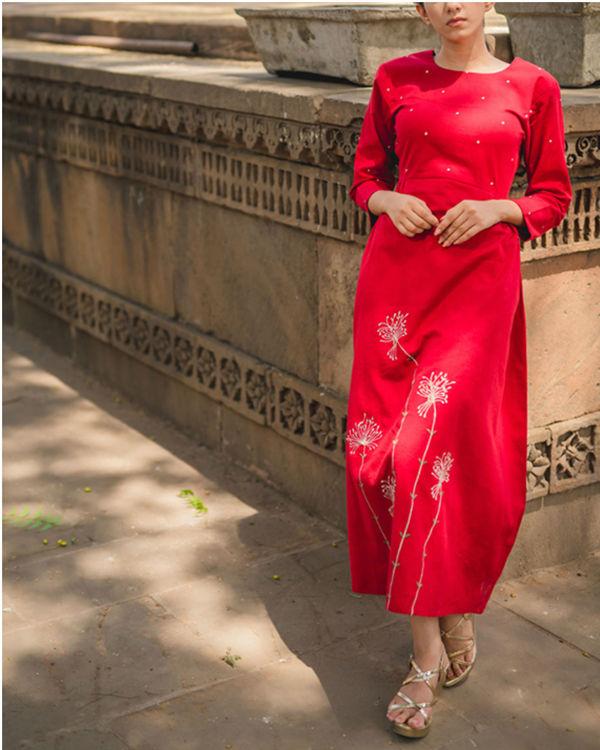 Red Dandelion Side Gathered Dress 1