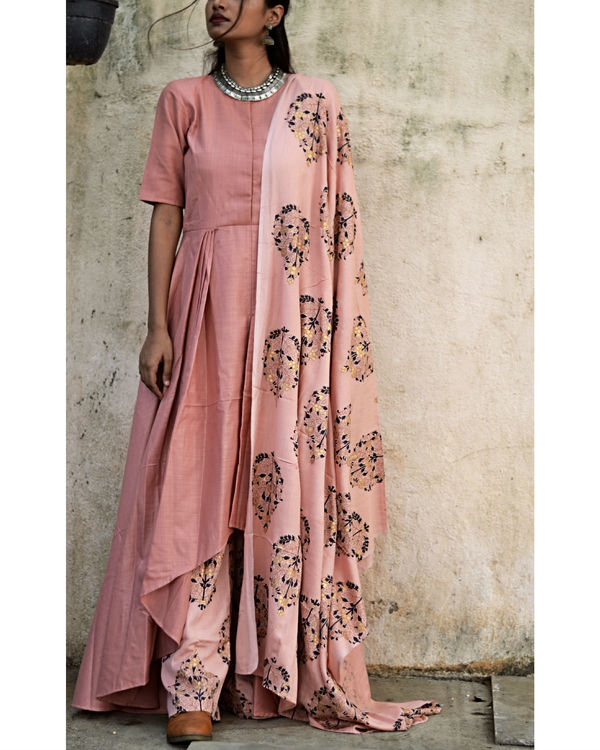 Peach High Low Tunic With Dupatta 1