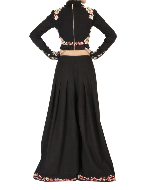 Black embroidered palazzo pants 1