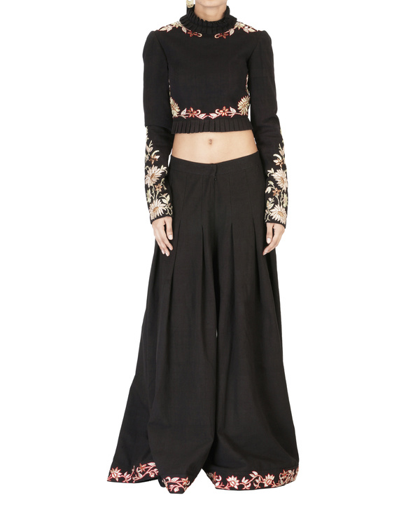 Black embroidered palazzo pants 2
