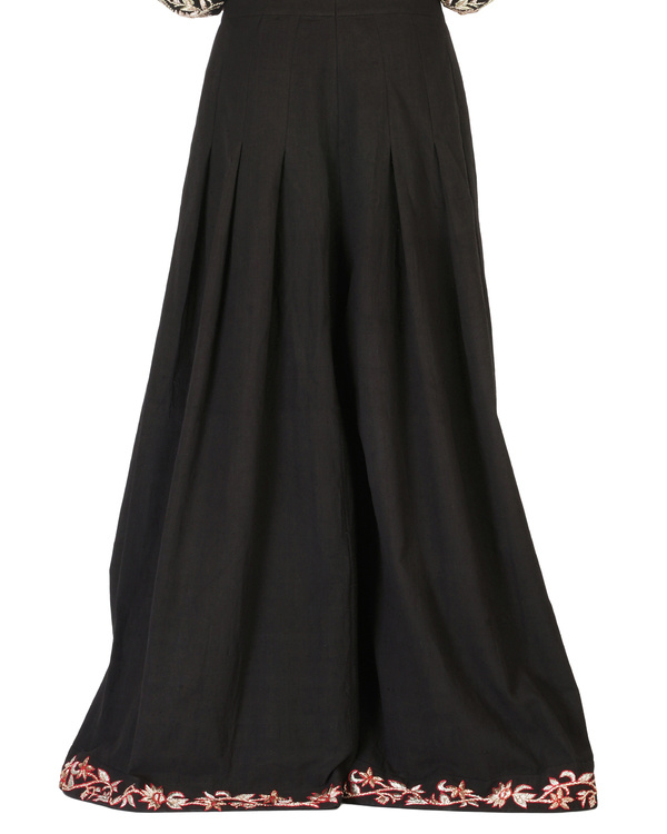 Black embroidered palazzo pants 3
