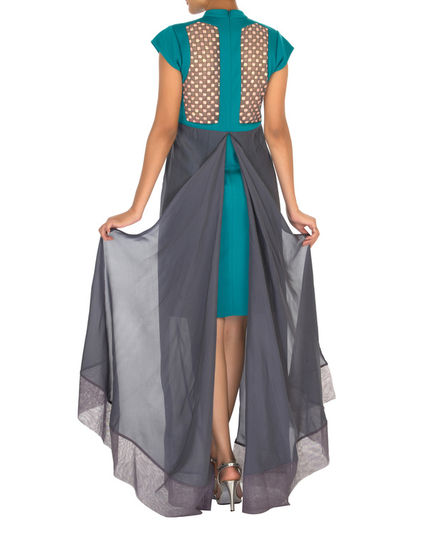 Two panelled aqua green and grey gown 1