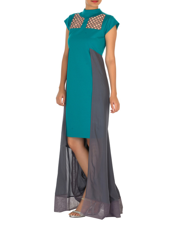 Two panelled aqua green and grey gown 2