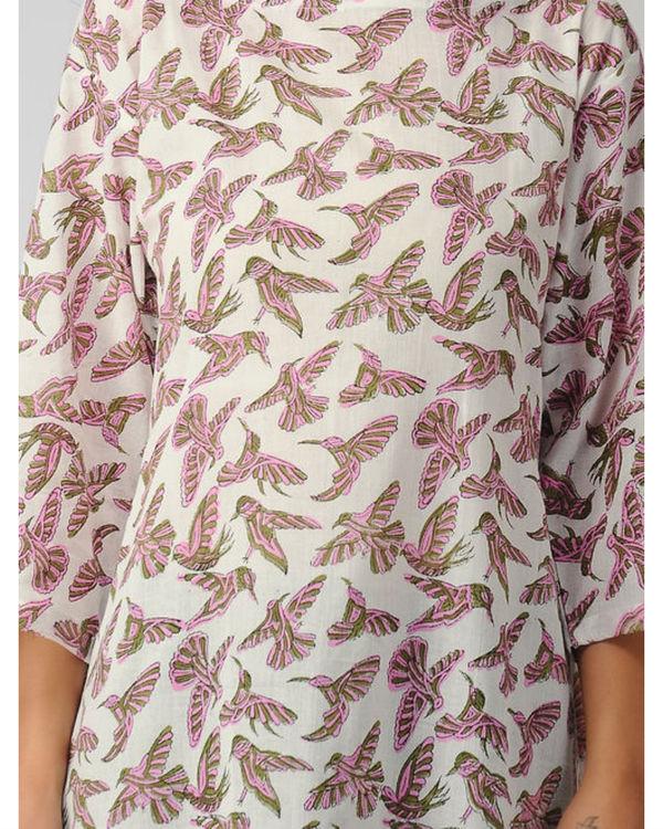 Pink bird kurta 1