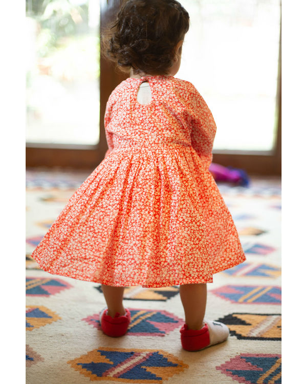 Orange floral dress with ruffle sleeves 1