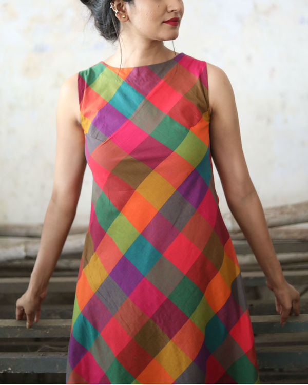Checks asymmetric dress 2