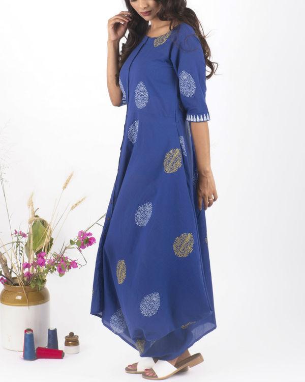 Blue hand block print dress 1