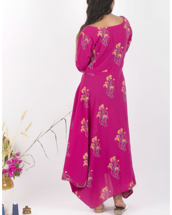 Pink hand block print dress 2