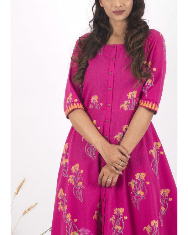 Pink hand block print dress 1