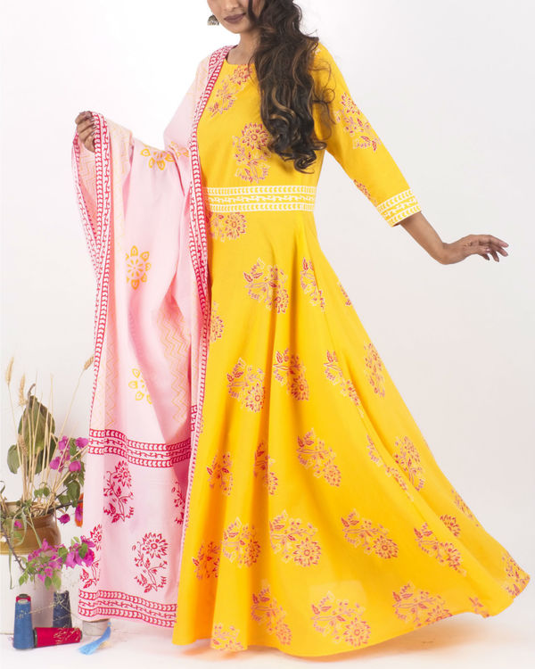 Yellow flared dress with dupatta 1