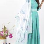 Thumb mintcreme dress and dupatta set 4