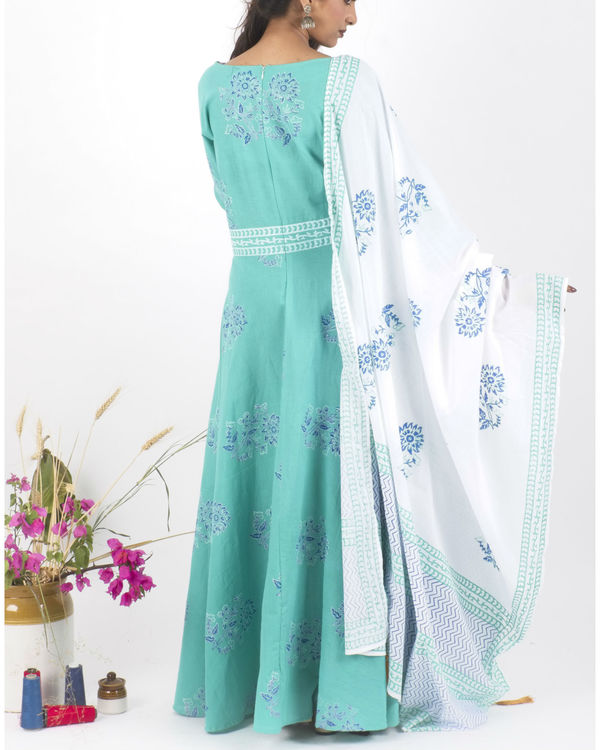 Mint creme dress with  dupatta 1