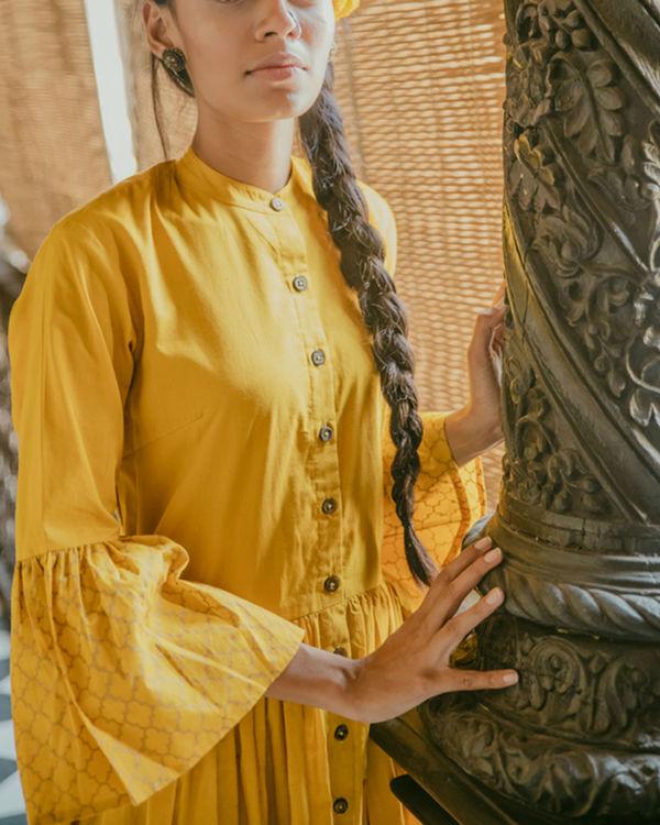 Mustard printed dress 2
