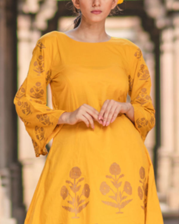 Mustard anarkali and pant set 1