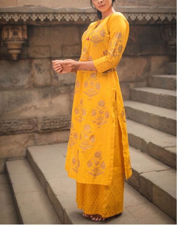 Mustard Block Printed Duo Set 2
