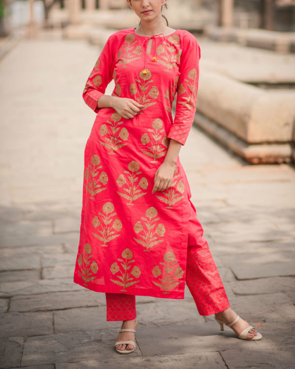 Block Printed Red Kurta 1