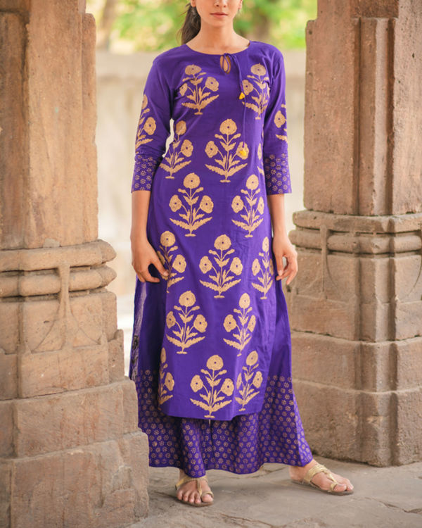 Purple Block Printed Kurta 1