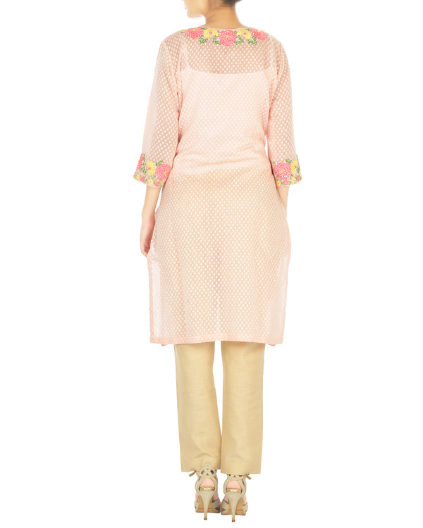 Pink marigold embroidered tunic with palazzo pants 1