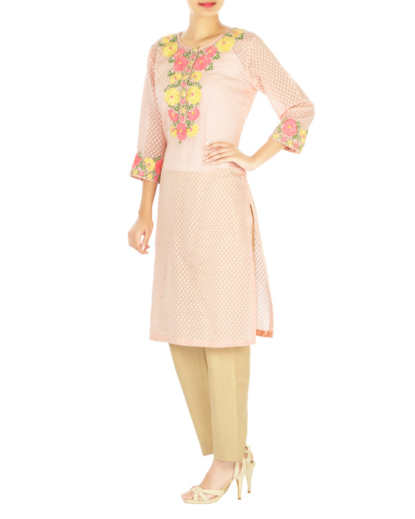 Pink marigold embroidered tunic with palazzo pants 2