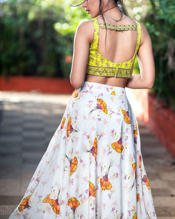 Off white skirt and lime green printed blouse 1