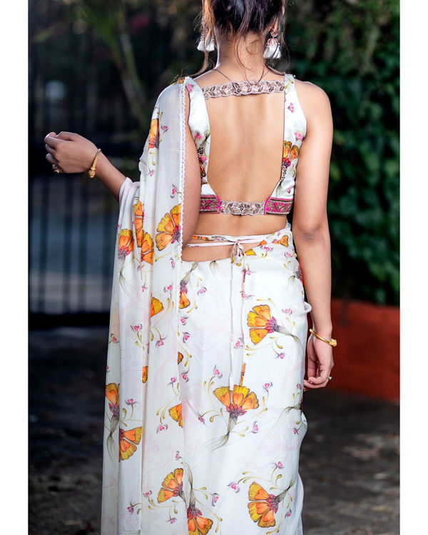 Offwhite printed saree with embroidered blouse 2