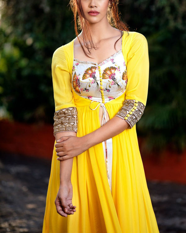 Yellow and offwhite printed anarkali set 2