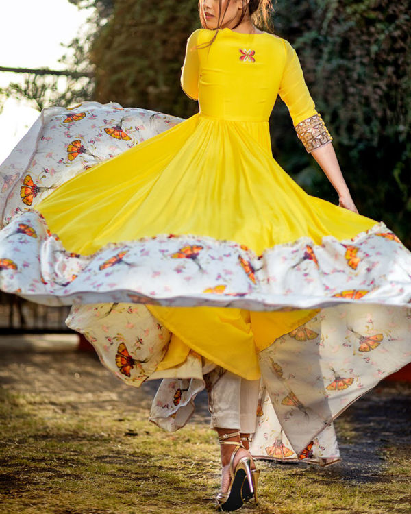 Yellow and offwhite printed anarkali set 1