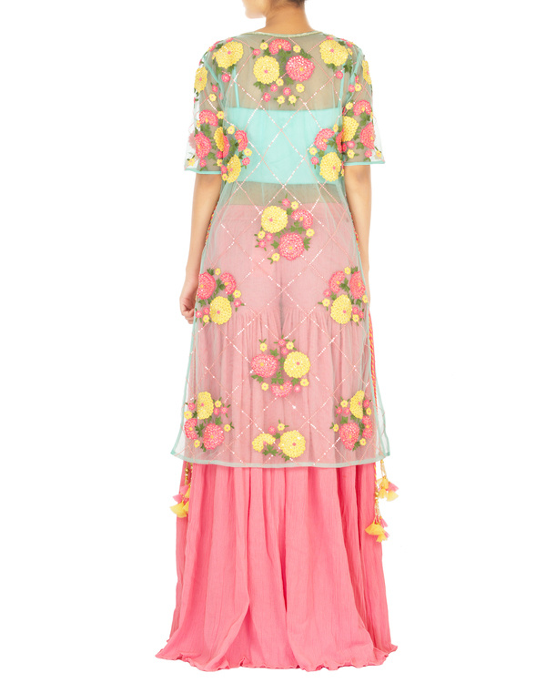 Turquoise and pink lehenga set with marigold flower work 1