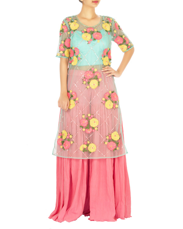 Turquoise and pink lehenga set with marigold flower work 2