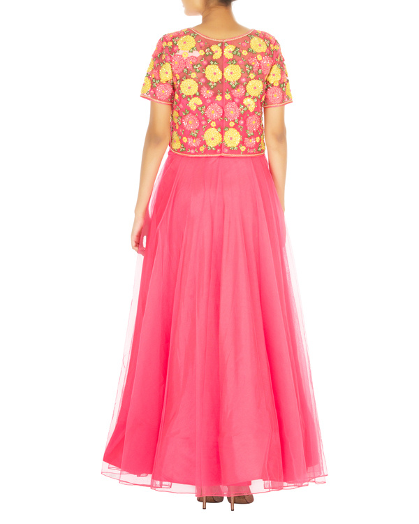 Hot pink anarkali set with embroidered shirt top 2