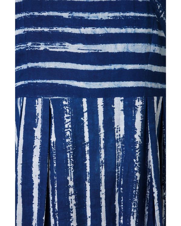 Indigo dabu striped dress 1
