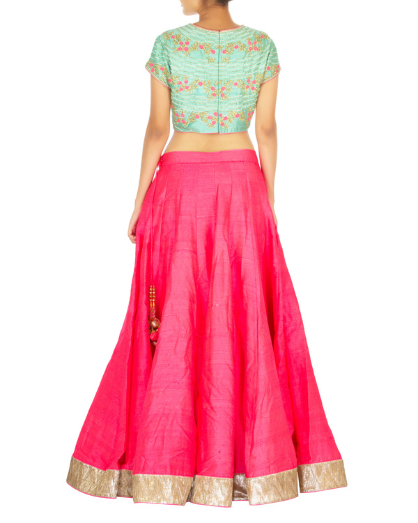 Turquoise and hot pink lehenga set with spiral flower butta 1