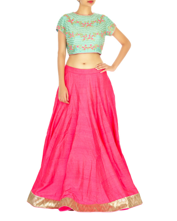 Turquoise and hot pink lehenga set with spiral flower butta 2
