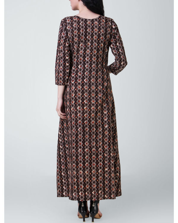 Brown dabu cotton dress 2