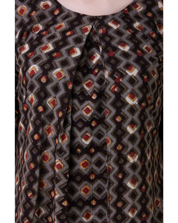 Brown dabu cotton dress 1