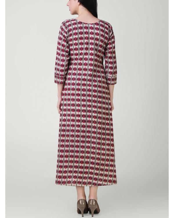 Red grey pin tuck dress 1