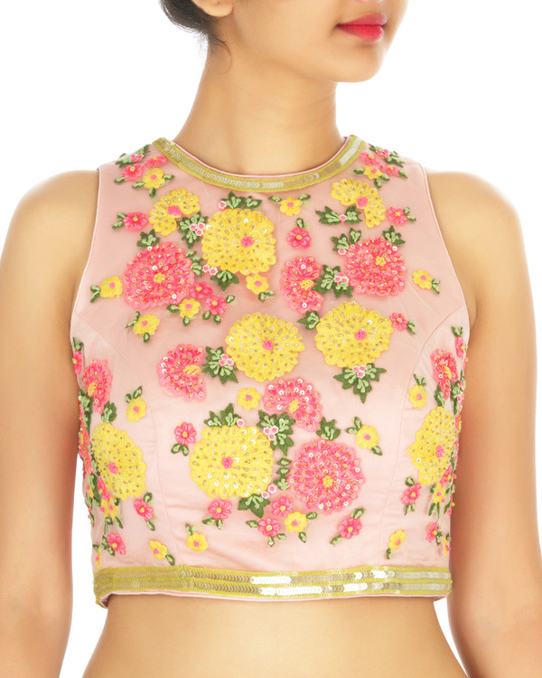 Neon yellow sari with pink embroidered blouse 2