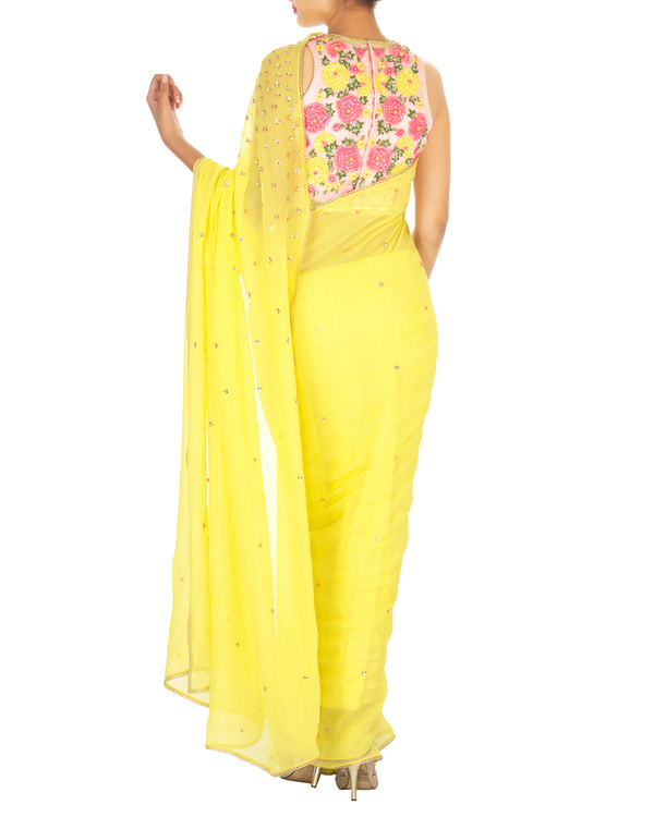 Neon yellow sari with pink embroidered blouse 3