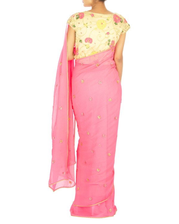 Neon pink sari with yellow embroidered blouse 3