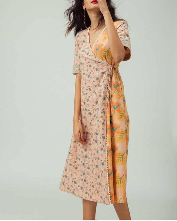 Salmon Bougainvillea Wrap Dress 2