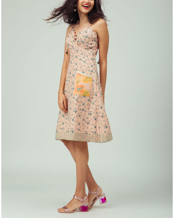 Salmon Starflower Strappy Dress 2