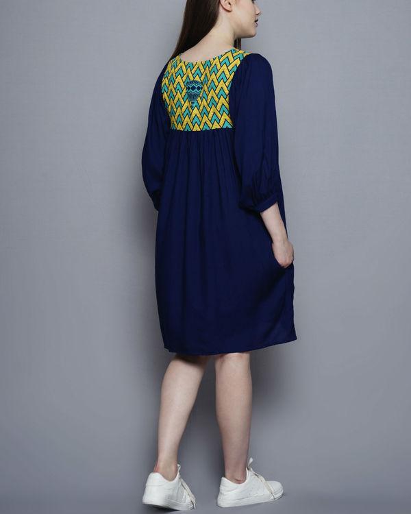 Printed yoke gathered dress 1